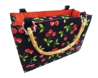 "USA Handmade Handbag With Bamboo Handle WITH ""CHERRY"" Pattern Bag Purse, Cotton, New"