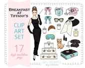 Breakfast at Tiffany's CLIP ART SET for personal and commercial use- retro fashion, Audrey Hepburn, sleep mask, sunglasses, perfume, glamour