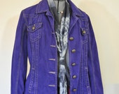 "Violet XL Denim JACKET - Deep Purple Dyed Upcycled Tria Denim Trucker Jacket - Adult Womens Size Extra Large (44"" chest)"