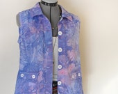 "Pink Violet MediumCotton VEST - Periwinkle Blue Dyed Upcycled Christopher & Banks Cotton Vest - Adult Womens Size Medium (40"" chest)"
