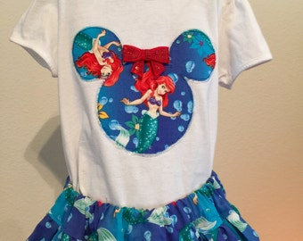 Disney's Little Mermaid twirly skirt & shirt set perfect for Disney, birthday parties, and photo ops