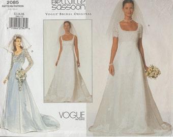 Designer Sewing Pattern By Bellville Sassoon / Bridal Original  / Vogue 2085 / Empire Wedding Dress Gown / Sizes 12 14 16