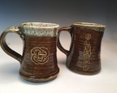 Pair of Stoneware Mugs in Amber Brown Drip Glaze
