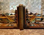 Vintage Wood Book Ends - Chalet Book Ends - Hand Carved Cabin Decor - Swiss Chalet - Rustic Decor
