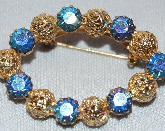 Vintage / Rhinestone / Brooch / Aurora Borealis / Filigree / Gold / Beads / old jewelry / jewellery