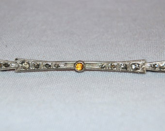 Vintage / Diamonbar / Sterling / Antique / Victorian / Brooch / Rhinestone / Bar Pin / Signed / Amber / Clear / C Clasp / old jewelry