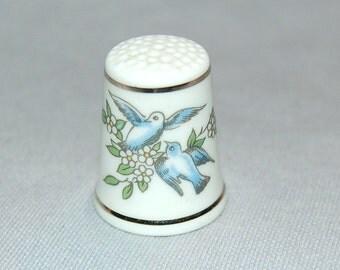 Vintage / Blue Birds / Royal Worcester / Thimble / Porcelain / England /  Sewing / Tool /