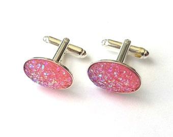 Pink Druzy Cufflinks, Faux Druzy Sparkly Cufflinks, Pink Wedding, Glitter Cufflinks, Also in Blue, Purple and Silver