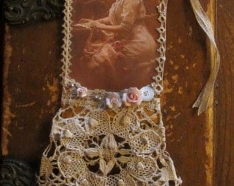 Vintage Lace Collage Edwardian Seamstress Lady Embellished Tag