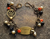 Vintage Scottie Dog Tag Charm Bracelet in Persimmon and Black Millefiori - Vintage Assemblage
