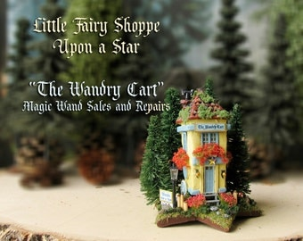 Little Fairy Shoppe Upon a Star - The Wandry Cart with Mossy Roof, Mushrooms, Stairs, Flower Boxes, Shop Signs, Lamp Post and Pine Trees