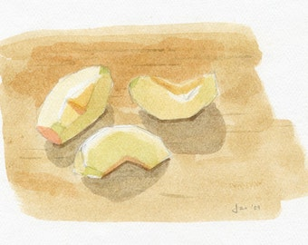 ORIGINAL Apple Slices - Watercolor Painting