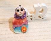 handmade ceramic clay  babouchka matriochka russian art doll Poppy In The Sky pendant ooak