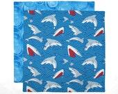 Boys Lunch Napkin, Kids Cloth Napkin, School Lunchbox Napkin, Sharks, 1 double sided fabric napkin for kids