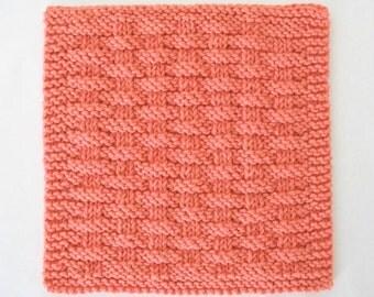 Cotton Washcloth, Knit Dishcloth, Peach Kitchen Washcloth, Basketweave Dishcloth