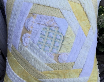 Yellow White Vintage Chenille Patchwork Pillow Handmade Doodaba Nursery Lake Patio