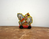 Vintage Pull Toy - Vintage Circus Dog Riding Horse Pull Toy - Mid Century Toy - Wooden Wheels