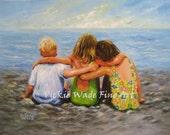 Three Beach Children Hugging Art Print, two brunette sisters, two girls one boy, little brother, three beach kids art, Vickie Wade Art
