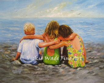 Three Beach Children Hugging Art Print, two brunette sisters, two girls one boy, little brother, three beach kids art, Vickie Wade Art