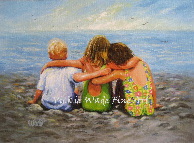 Three Beach Children Hugging Art Print Two By