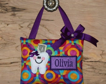 Personalized tooth fairy pillow, Multi Color Circles,tooth fairy pillow, girl tooth fairy pillow,tooth fairy pillow girl, SHIPS NEXT DAY