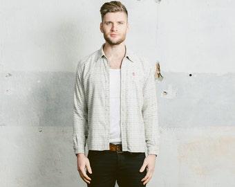 Vintage FJALLRAVEN PLAID Shirt . Mens 90s Pastel Plaid 1990s Long Sleeve Top Logo on Chest Normcore Grunge Boyfriend Gift . Small Medium