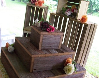 ON SALE CAKE Stand Cupcake stand crates Bundle rustic wedding decorations reception 3 Tier  Box Stand Barn wood country outdoor reception