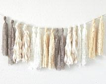 Fabric Tassel Garland Vintage Lace Wedding Decor Neutral Cream Taupe Milky White  / 16 Tassels / Handmade and Reusable / Bohemian Wedding