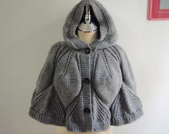 Light Grey capelet with hood