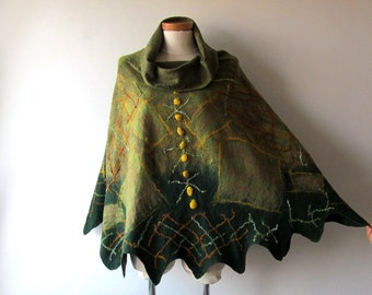 Women Poncho Green wool Cape, Felted poncho, Natural  wool spring outerwear oversized poncho,  poncho for women