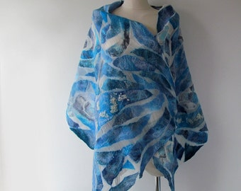 Nuno felted scarf, Blue white felt scarf,  nautical scarf , Women shawl Spring scarf  Summer scarf