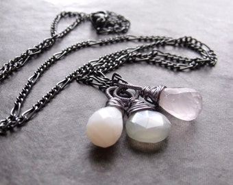 White Opal Grey Moonstone and Rose Quartz Pendant Gunmetal Chain Necklace