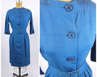 1950s 1960s Blue Silk Wiggle Dress - Blue Sheath Dress - Martha Clyde for Marshall Fields
