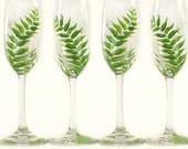 Hand-Painted CRYSTAL Champagne Flutes with Rustic Green Ferns, Personalized - Outdoor Wedding Gift Idea Champagne Woodland Wedding Glasses