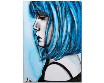 FACE 1 woman blue hair monochromatic watercolor yupo painting Sandrine Curtiss ORIGINAL art ACEO