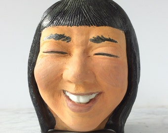 Laughing woman ceramic sculpture head, big smile bangs, happy friend art bust face pottery