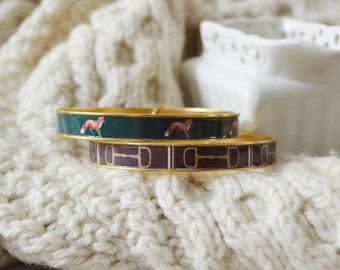 Women's Preppy Equestrian Bangle Bracelet - Brown HorseBit & Foxes