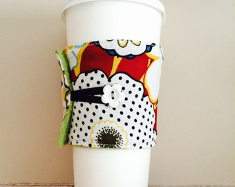 Coffee Cup Cozy, Coffee Cup Sleeve, Cup Cozy, Cup Sleeve, Reusable Coffee Sleeve - Bold Dot Floral [05]