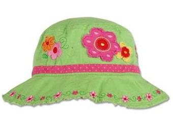 Personalized Stephen Joseph FLOWER Bucket Hat Personalized Toddler Bucket Hat Embroidered Sun Hat Custom Toddler Hat