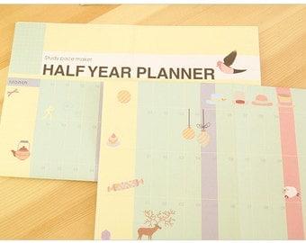 Half Year Planner paper calendar poster