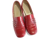 RESERVED Vintage Mod 60s Shoes, Red Patent Leather, Space Age,  Cobbies