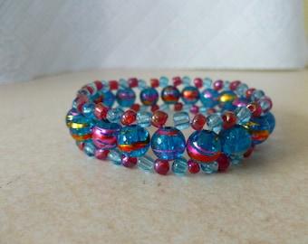 Beaded Bracelet Stretchy Blue/Pink