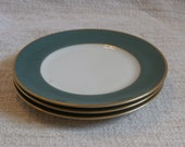 3 Franciscan Palomar Jade Green and Gold Bread and Butter Plates, Vintage Mid Century Modern