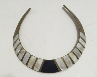 Vintage Brass and Mother of Pearl Collar Necklace Choker Black Gold and Pearl Stunning Statement Necklace Egyptian Look
