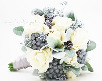 Winter Wedding Grey & White Bridal Bouquet Brunia Eucalyptus Pine Cones Real Touch Roses Groom's Boutonniere - Customize for your Colors