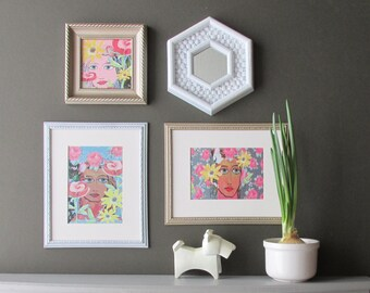 home gallery - Spring Fusion-  a 4 pc vintage  wall art collection - Boho Chic - romantic - eclectic