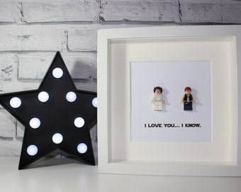 I LOVE YOU I KNOW - Framed Princess Leia and Han Solo Lego minifigures