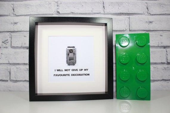 Han solo carbonite star wars framed lego minifigure - Han solo carbonite wall art ...