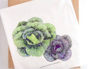 Watercolor Cabbage Tea Towel, Flour sack kitchen towel