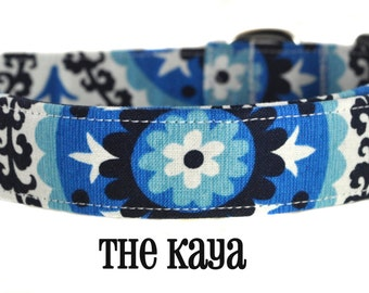Navy and White Floral Dog Color - The Kaya